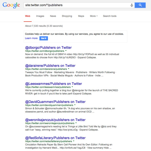 Search for Twitter lists on Google