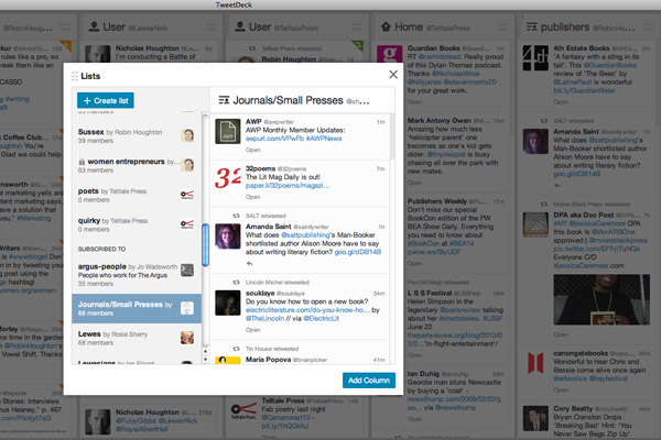 Lists in Tweetdeck
