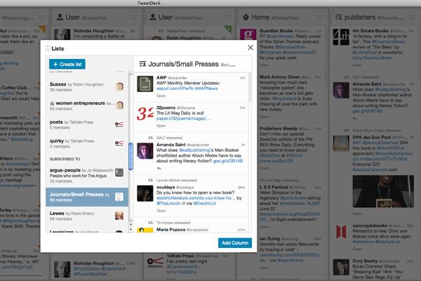 Lists in Tweetdeck