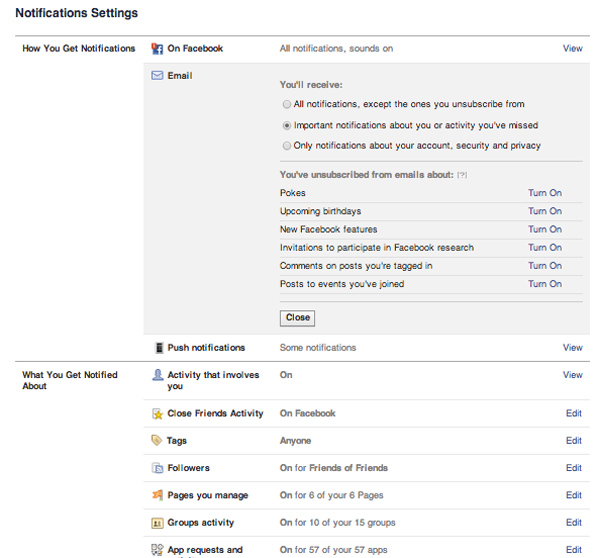 FB notifications settings