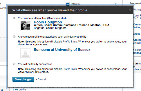 LinkedIn - what others see