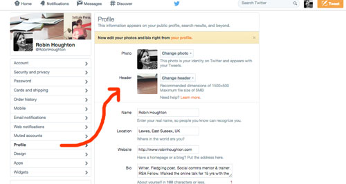 Twitter - how to change your header image