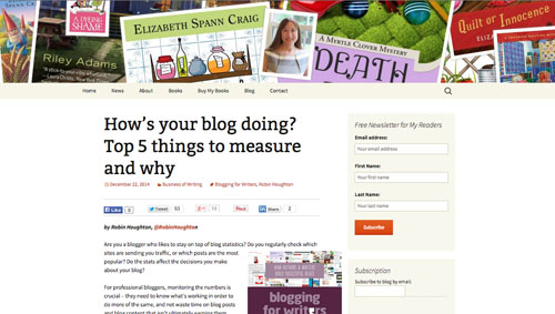 Elizabeth Spann Craig - guest blog post by Robin Houghton