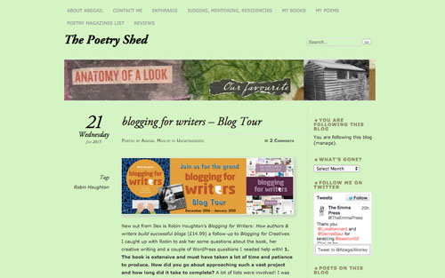 The Poetry Shed by Abegail Morley interview with Robin Houghton