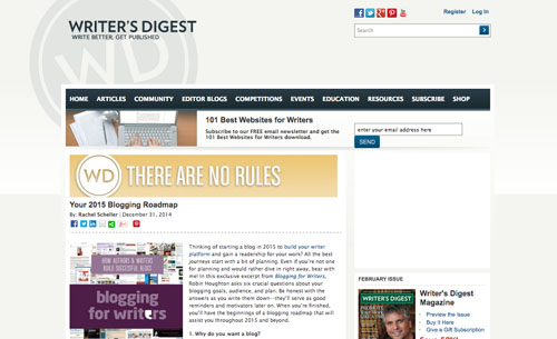 Writers Digest blog post from Blogging for Writers Robin Houghton