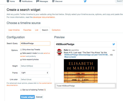 Create twitter search widget