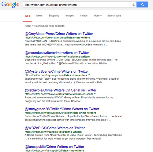 Google search for Twitter lists